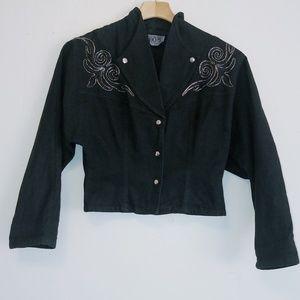 Vintage western cropped black jean jacket